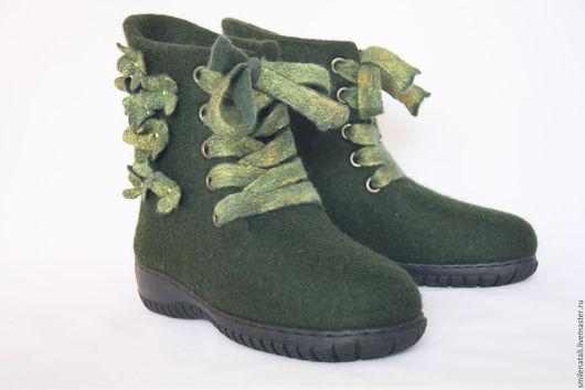 """Обувь ручной работы. Ярмарка Мастеров - ручная работа. Купить Валенки-ботинки """"Зимний лес"""".. Handmade. Тёмно-зелёный"""