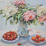 Картины и панно handmade. Livemaster - original item Oil painting still life Flowers Roses Oil on Canvas Shabby. Handmade.