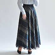 Одежда handmade. Livemaster - original item The semi-circular skirt in plaid with long fringe. Handmade.