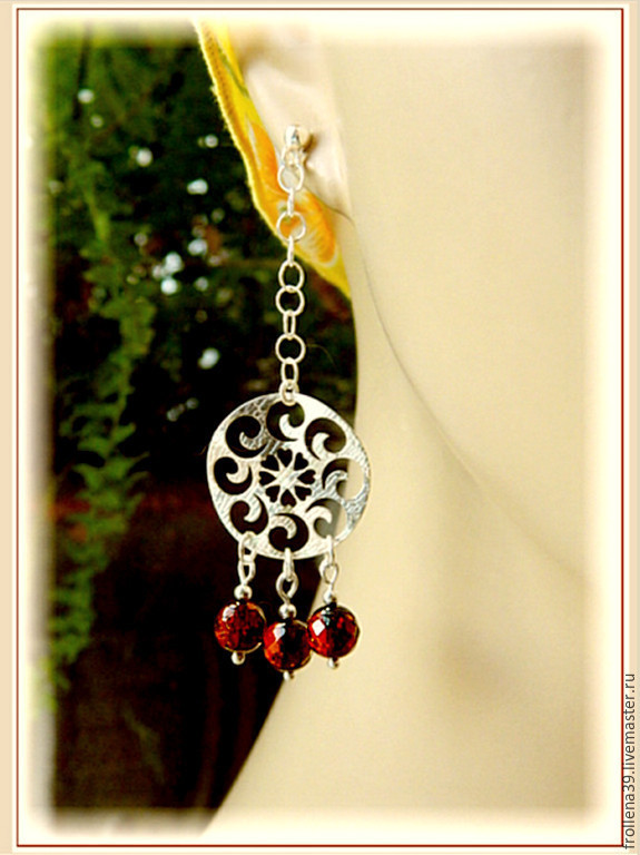 earrings 'snowflakes in cherry orchard' amber silver, Earrings, Moscow,  Фото №1