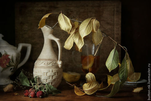 Фотокартины ручной работы. Ярмарка Мастеров - ручная работа. Купить Натюрморт Осенний чай (осень листья кувшин). Handmade. Желтый