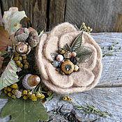 """Брошь-булавка ручной работы. Ярмарка Мастеров - ручная работа Брошь """"Уютные воспоминания"""" с натуральными камнями. Handmade."""