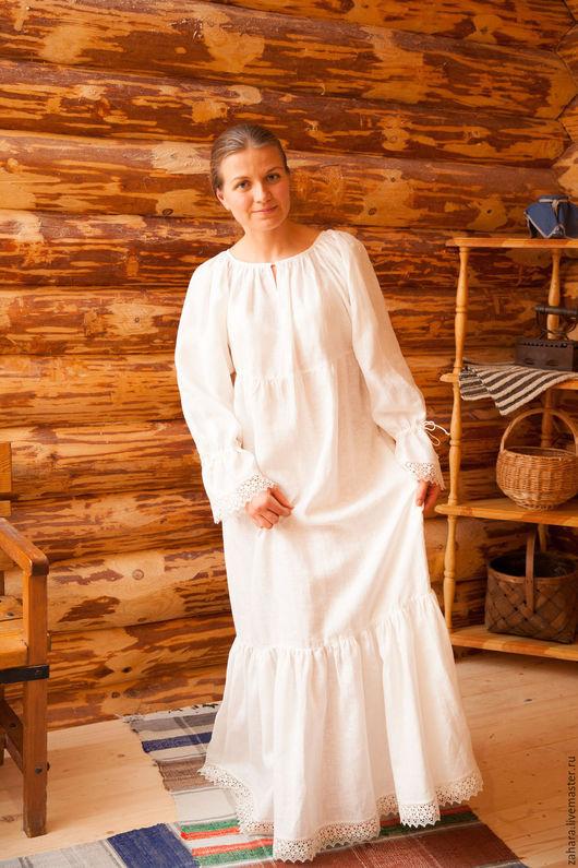 Одежда ручной работы. Ярмарка Мастеров - ручная работа. Купить Рубашка под сарафан длинная. Handmade. Белый, рубаха льняная