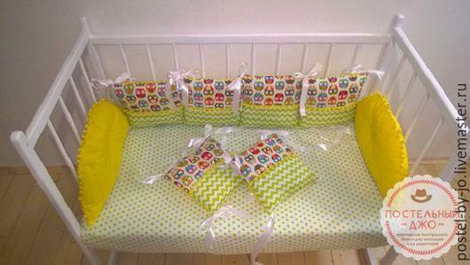 """Для новорожденных, ручной работы. Ярмарка Мастеров - ручная работа. Купить Бортики в кроватку """"Весенние Совушки"""". Handmade. Желтый"""