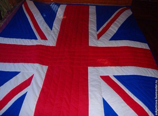 """Текстиль, ковры ручной работы. Ярмарка Мастеров - ручная работа. Купить Одеяло-покрывало пэчворк  """"Британский флаг"""". Handmade. Одеяло"""