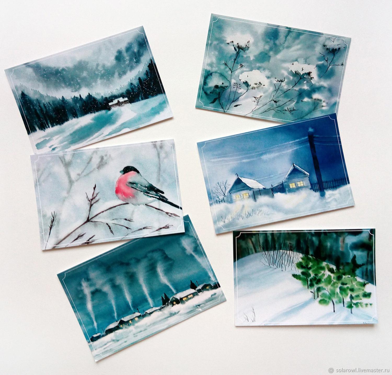 Открытки акварель зима