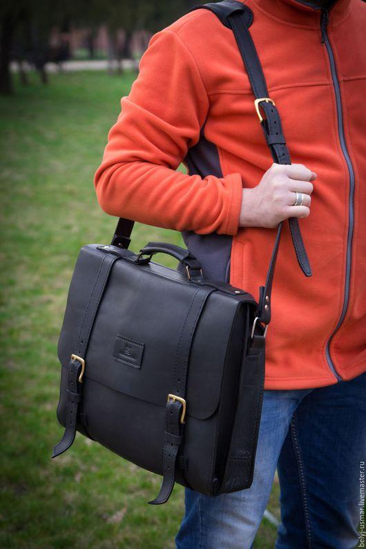 Мужские сумки ручной работы. Ярмарка Мастеров - ручная работа. Купить Портфель из натуральной кожи. Handmade. Черный, деловой аксессуар