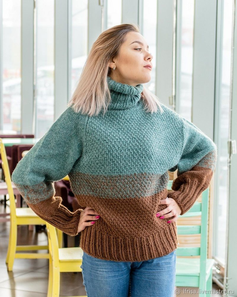 Sweater for women, with a gradient of natural yarn, Sweaters, Novosibirsk,  Фото №1