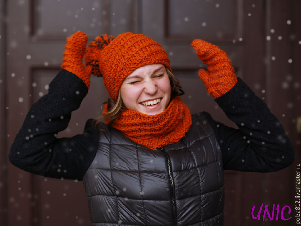 рыжий, оранжевый, апельсин, яркий, шапка вязаная, комплект шапка снуд, комплект вязаный, купить шапку, купить снуд, купить комплект, купить подарок