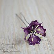 """Украшения ручной работы. Ярмарка Мастеров - ручная работа Шпилька для волос """"Фиолетовый цветок"""" из Витраль. Handmade."""