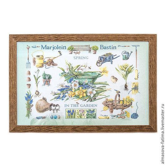 Натюрморт ручной работы. Ярмарка Мастеров - ручная работа. Купить Весна в саду. Handmade. Вышивка крестом, коллаж, грабли, хлопок