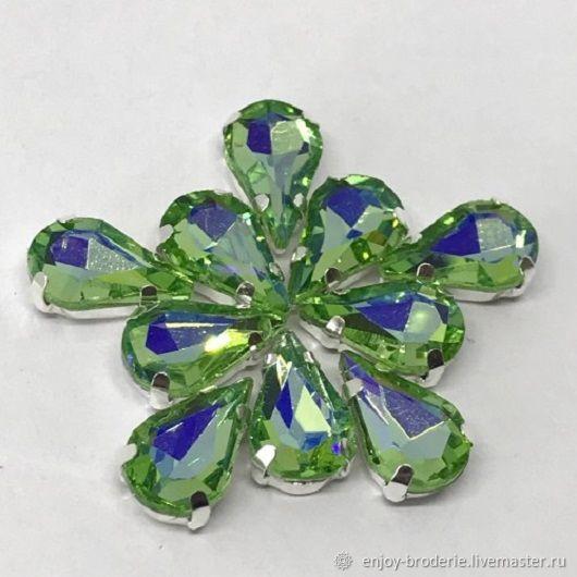 Кристаллы капли светло зеленые, 6х12 мм, Бусины, Санкт-Петербург, Фото №1
