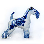 Figurines handmade. Livemaster - original item Figurines: Kerry blue Terrier Gzhel. Handmade.