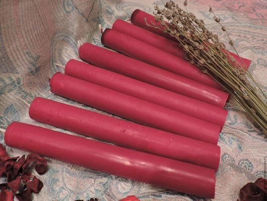 Свечи ручной работы. Ярмарка Мастеров - ручная работа. Купить Свечи восковые красные с травами. Handmade. Ярко-красный, магия