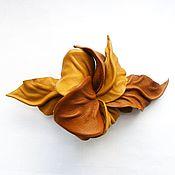 """Украшения ручной работы. Ярмарка Мастеров - ручная работа Заколка автомат цветок для волос """"Карамель"""" рыжий светло коричневый. Handmade."""