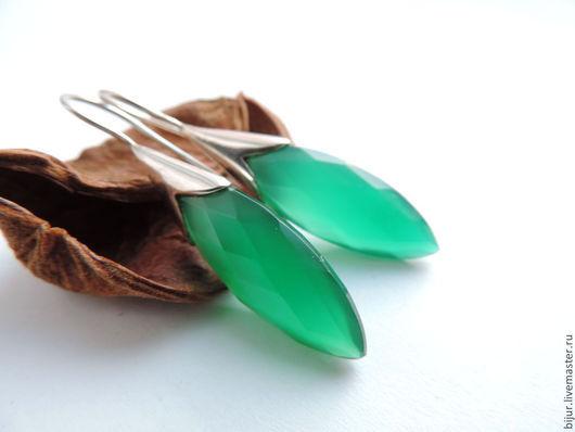 Серьги ручной работы. Ярмарка Мастеров - ручная работа. Купить Серебряные серьги  с зеленым ониксом. Handmade. Зеленый, украшения с камнями