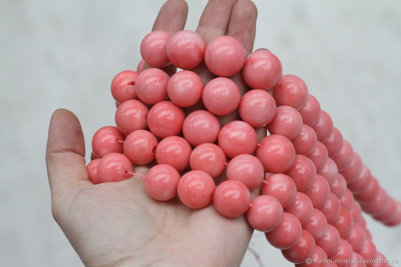 Для украшений ручной работы. Ярмарка Мастеров - ручная работа. Купить Коралл натуральный розовый 14 мм. Handmade. Розовый