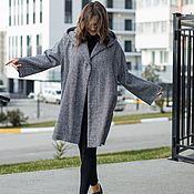 Одежда handmade. Livemaster - original item Warm Cardigan coat of Italian wool gray checkered. Handmade.