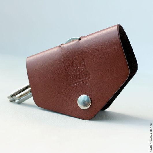 Брелоки ручной работы. Ярмарка Мастеров - ручная работа. Купить Кожаная ключница Hoke коричневая. Handmade. Коричневый, для ключницы
