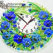 Часы классические ручной работы. Ярмарка Мастеров - ручная работа настенные часы из стекла  АНЮТОЧКА, фьюзинг. Handmade.