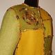"""Пиджаки, жакеты ручной работы. Пальто """"Mosaic in green"""". ElKo (Элла Ковалева). Ярмарка Мастеров. Валяное пальто, ангора"""