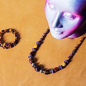 Аксессуары ручной работы. Ярмарка Мастеров - ручная работа Сет янтарь и фиолет. Handmade.
