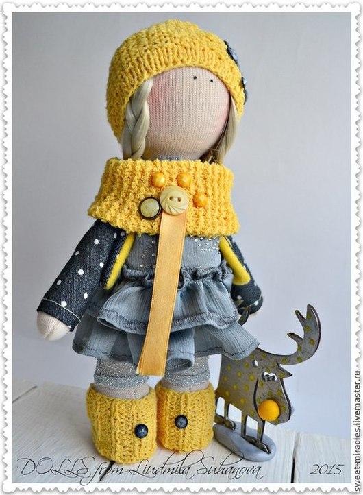 Коллекционные куклы ручной работы. Ярмарка Мастеров - ручная работа. Купить Кукла-малыш с оленем. Handmade. Желтый, горох