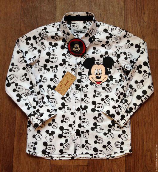 """Одежда унисекс ручной работы. Ярмарка Мастеров - ручная работа. Купить Рубашка унисекс """"Микки/Минни"""". Handmade. Чёрно-белый, стиль"""