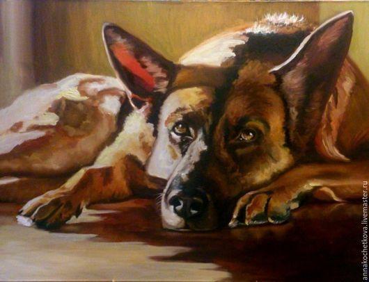 Животные ручной работы. Ярмарка Мастеров - ручная работа. Купить Картина на холсте, масло. Самый лучший друг. Собака.. Handmade.