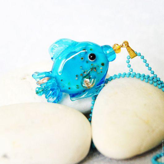 Кулоны, подвески ручной работы. Ярмарка Мастеров - ручная работа. Купить Кулон Голубая рыбка. Handmade. Бирюзовый, голубой кулон