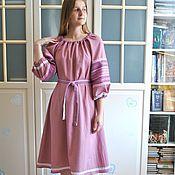 Одежда handmade. Livemaster - original item Midi linen dress in the Russian style
