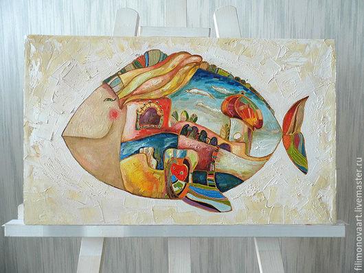"""Фантазийные сюжеты ручной работы. Ярмарка Мастеров - ручная работа. Купить картина маслом """"Рыба город"""". Handmade. Картина маслом"""