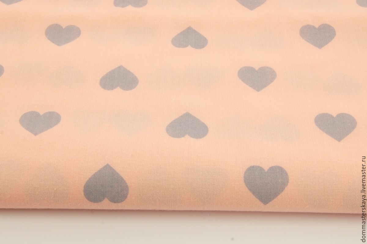 100% cotton, Poland, grey hearts on salmon background, Fabric, Moscow,  Фото №1