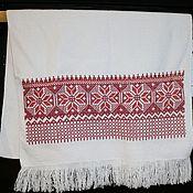 """Русский стиль handmade. Livemaster - original item Рушник """"Алатырь"""" двуцветный с обережной вышивкой крестом. Handmade."""