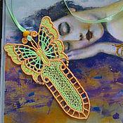 Канцелярские товары handmade. Livemaster - original item bookmark embroidered air butterfly bookmark for books. Handmade.