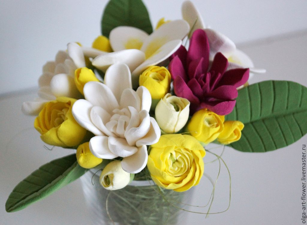 Flowers from polymer clay in glass, Composition, Moscow,  Фото №1
