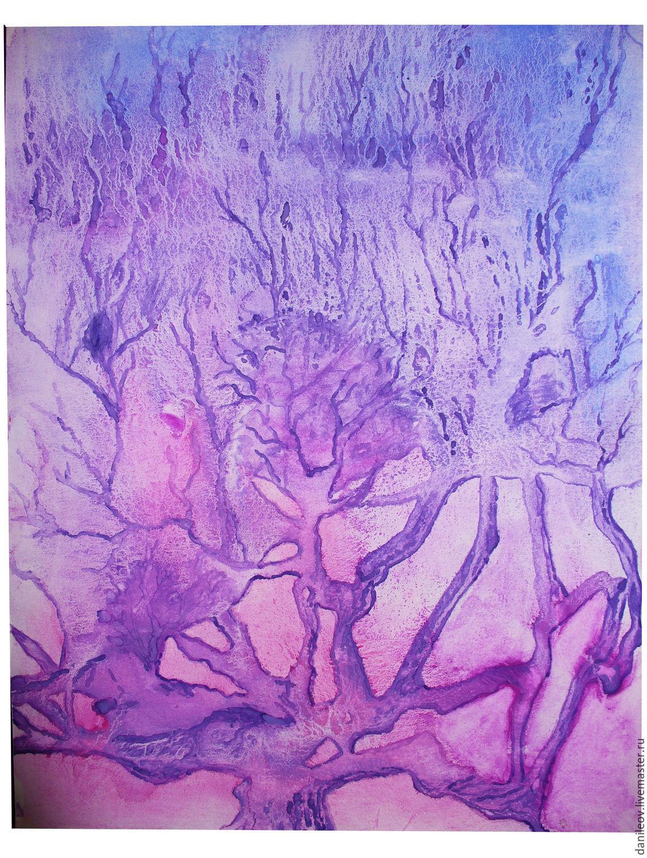 """Город ручной работы. Ярмарка Мастеров - ручная работа. Купить рисунок """"Дерево снов"""". Handmade. Фиолетовый, дерево, авторская работа"""