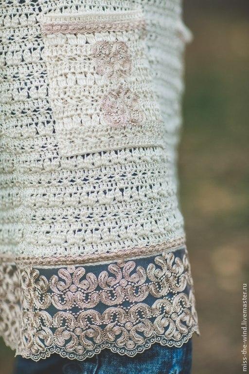 """Кофты и свитера ручной работы. Ярмарка Мастеров - ручная работа. Купить туника """"Песочное плетение"""". Handmade. Бежевый, песочный"""