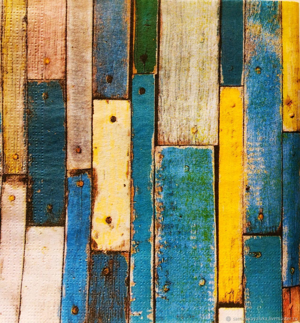 Салфетка для декупажа 33х33 Цветные досочки, Салфетки для декупажа, Самара,  Фото №1
