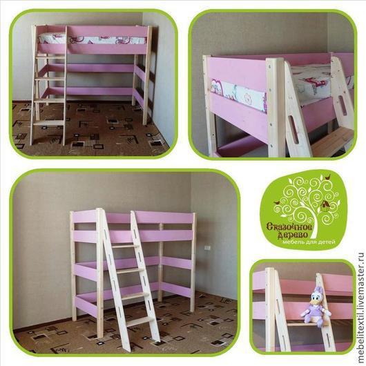 Детская ручной работы. Ярмарка Мастеров - ручная работа. Купить Кровать чердак для девочки от 3 до 10 лет. Handmade. Розовый