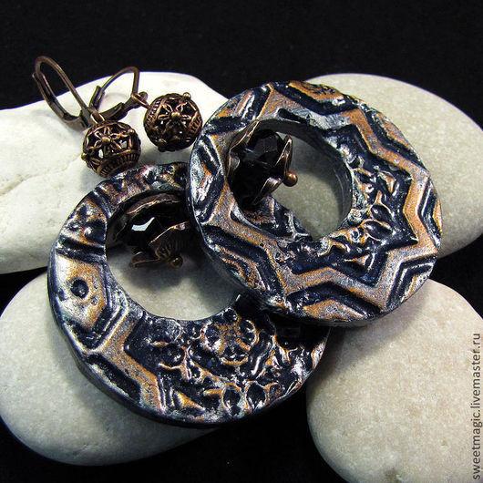 Серьги ручной работы. Ярмарка Мастеров - ручная работа. Купить Круглые Серьги с геометрическим узором из полимерной глины. Handmade.