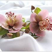 Украшения ручной работы. Ярмарка Мастеров - ручная работа Заколка Орхидея цимбидиум розовая. Холодный фарфор.. Handmade.