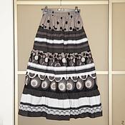 Одежда ручной работы. Ярмарка Мастеров - ручная работа Юбка р.42-48 бохо черная с серым. Handmade.