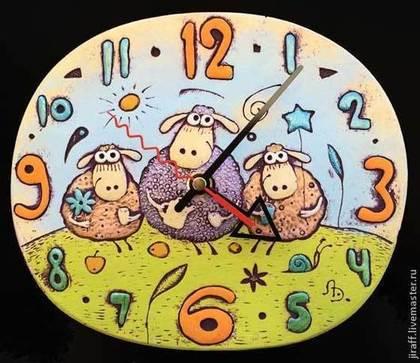 """Новый год 2015 ручной работы. Ярмарка Мастеров - ручная работа Часы """"Овечки улыбаются"""". Handmade."""