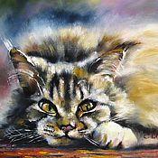 Картины и панно ручной работы. Ярмарка Мастеров - ручная работа картина маслом на холсте кот котик картина с кошкой котиком. Handmade.
