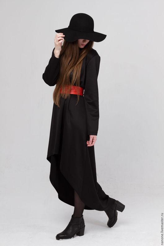 Платья ручной работы. Ярмарка Мастеров - ручная работа. Купить Платье с поясом. Handmade. Черный, платье с длинным рукавом