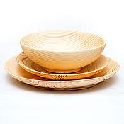Посуда handmade. Livemaster - original item Set of Wooden Plates (3#34. Handmade.