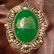Винтаж handmade. Livemaster - original item The pendant is a CHRYSOPRASE pendant GERMANY vintage glass 1960s.huge. Handmade.