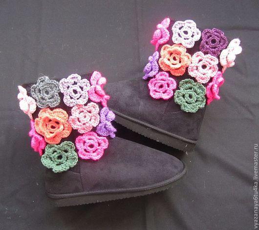"""Обувь ручной работы. Ярмарка Мастеров - ручная работа. Купить Угги """"цветы зимой"""". Handmade. Черный, обувь, шерсть"""