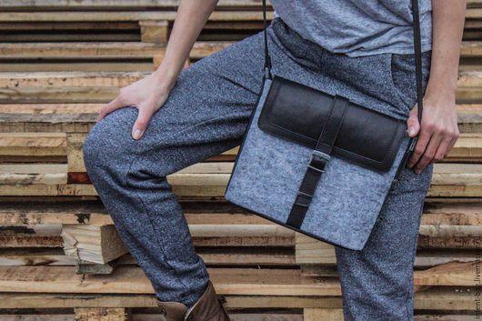 Женские сумки ручной работы. Ярмарка Мастеров - ручная работа. Купить С012. Handmade. Темно-серый, фетр, натуральная кожа